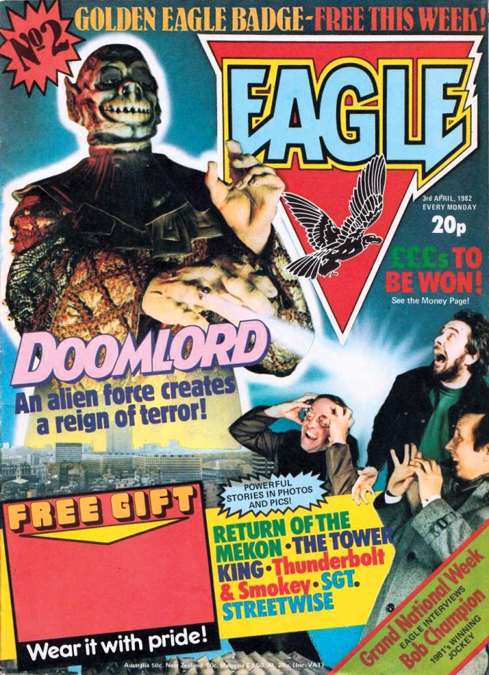 Eagle Issue 2 cover dated 3rd April 1982, featuring, probably, Mike White as Doomlord and Fleetway staffers Barrie Tomlinson, Doug Church and Kelvin Gosnell facing his wrath