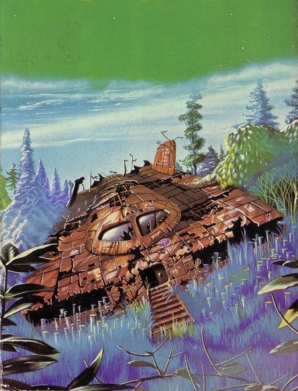 Art by Tim White for the cover of Monument by Lloyd Biggle Jnr - also used for a paperback edition