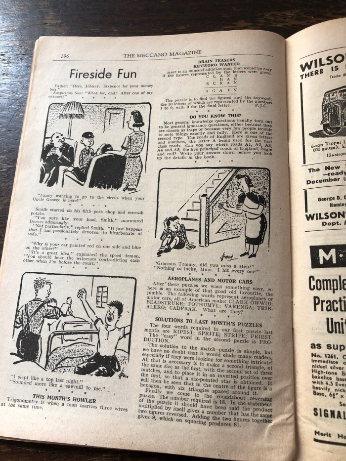 Meccano Magazine, November 1944 - Fireside Fun