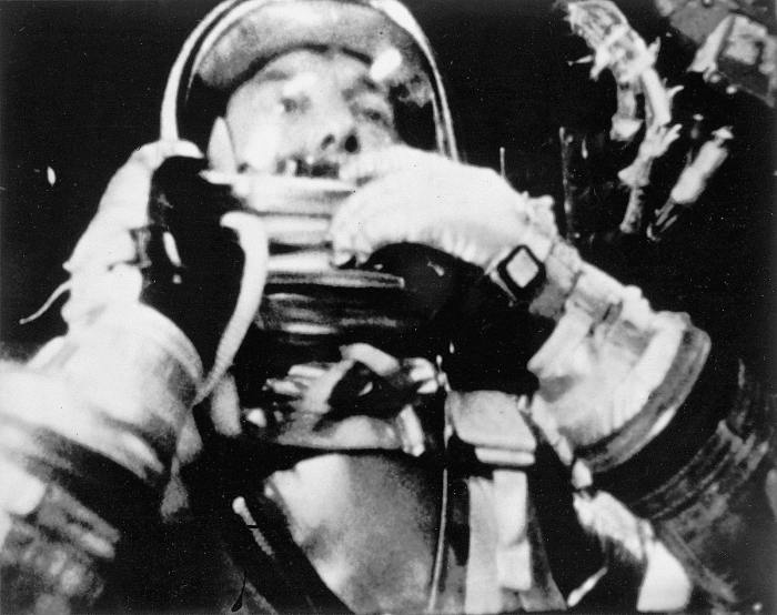 Alan Bartlett Shepard Jr., the first American in space, aboard the Freedom 7 Space capsule in 1961. Image: NASA