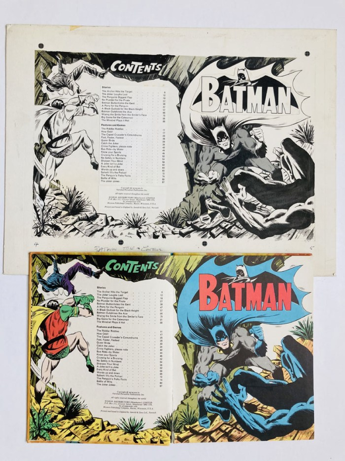 Batman title and contents pages artwork from Batman Story Book Annual 1969. Indian ink and half-tone on board. 19 x 14 ins