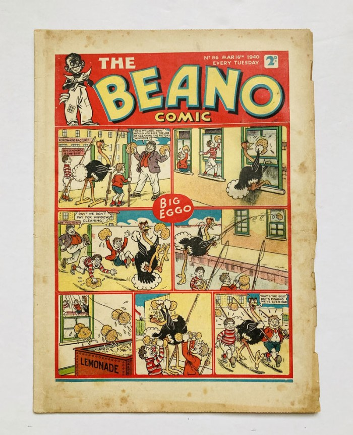 "Beano No. 86, cover dated 16th March 1940. A propaganda war issue in which the ""Wild Boy of the Woods"" capture a Nazi Flying Boat"