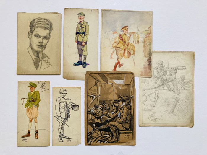 Six World War One painted and black and white sketches by Eric Parker, four signed, with an Eric Parker self-portrait pencil sketch signed and dated 1921. From the Eric Parker Archive