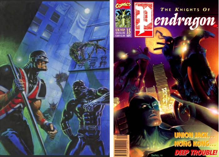 Left: Dermot Power's unused cover for Knights of Pendragon #15, and right, the published cover by Colin MacNeil. Gary Erskine recalls Dermot's cover was delayed, but he did provide the cover for #16. With thanks to Adrian Clarke