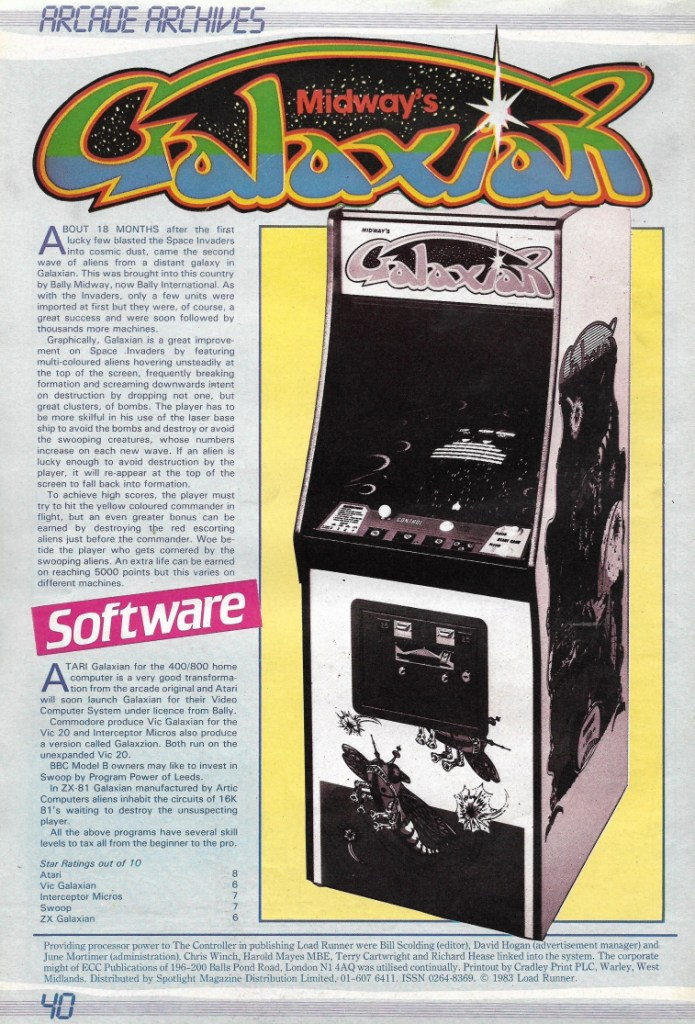"""Strange to think that by 1983 """"Galaxians"""" was considered an """"Archive"""" game..."""