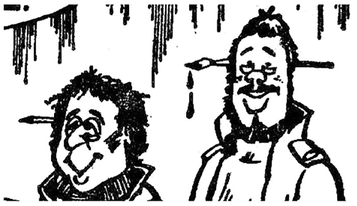 """A self portrait by Andrew Christine, right (with Roger Kettle, left) as seen in the very last """"Devils"""" strip for the Daily Star, in May 1987"""