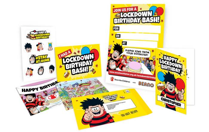 Beano Lockdown Birthday Kits in aid of Save the Children