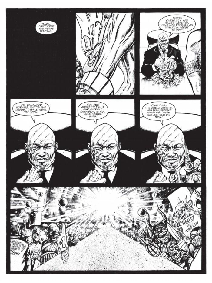 """Pages from """"V"""" for The77 #1, by Steve Bull and Ade Hughes, lettered by Annie Parkhouse"""
