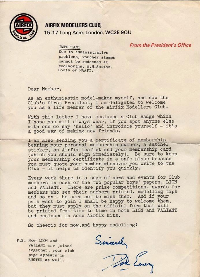 Airfix Modellers Club - Introductory Letter from Dick Emery