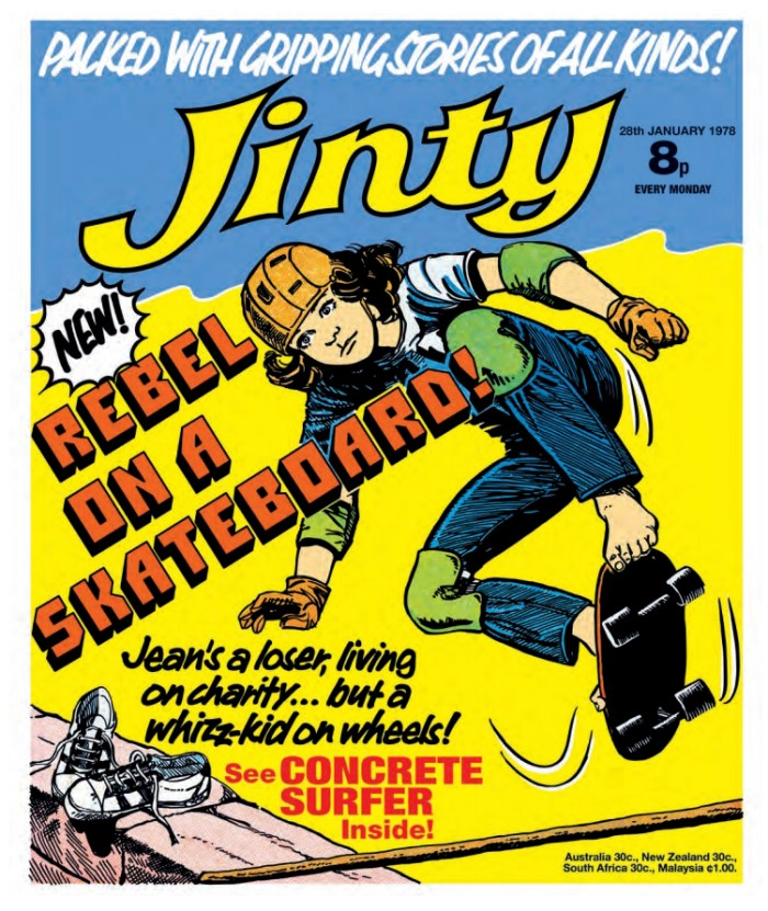 "Jinty, cover dated 28th January 1978, featuring the debut of ""The Concrete Surfer"""