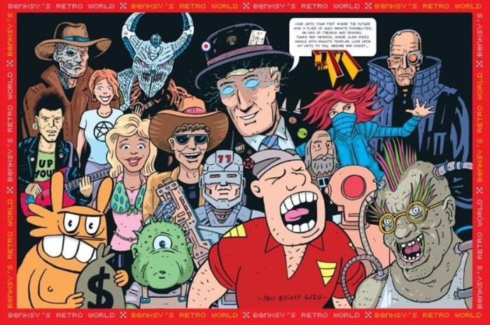Phil Elliott's montage of his takes on all The77 Issue #1 characters