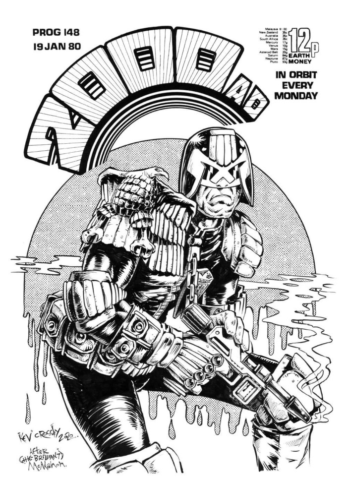 "Kev Crossley's homage to 2000AD Prog 148 by Mick McMahon. ""I literally spent two weeks agonising over whether I should do this one at all,"" he says"