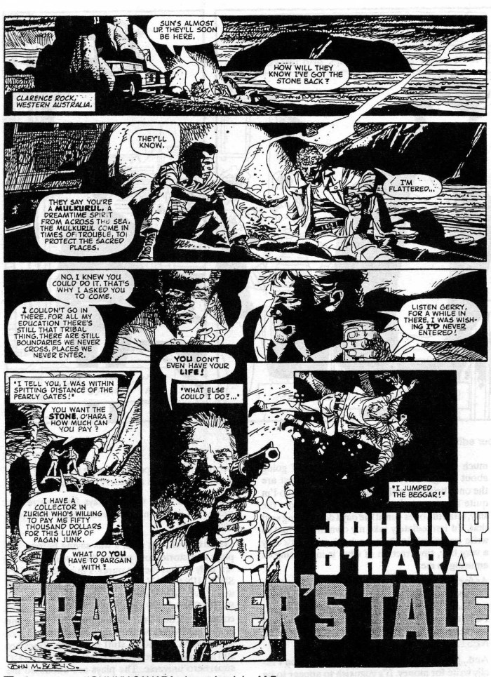 "Art from the planned ""Johnny O'Hara"" strip by Grant Morrison and John M. Burns, which first saw the light of day in Paul Duncan's ARK zine (Issue 32)"