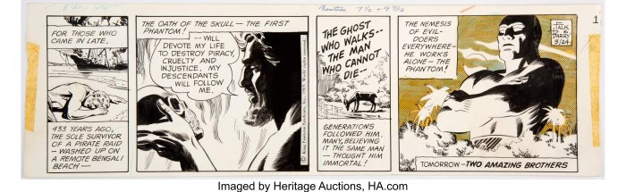 """Art for the first episode of The Phantom story """"""""The Jungle Home"""", re-telling the characters origin, first published 24th March 1969. Story by Lee Falk, art by Sy Barry. Image: Heritage Auctions"""