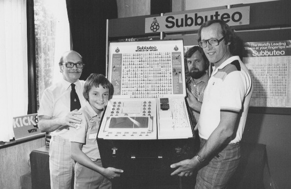 Barrie Tomlinson (right) presenting an incredible  Subbuteo prize to a Tiger winner. Anyone know the winning reader? Image via Barrie Tomlinson