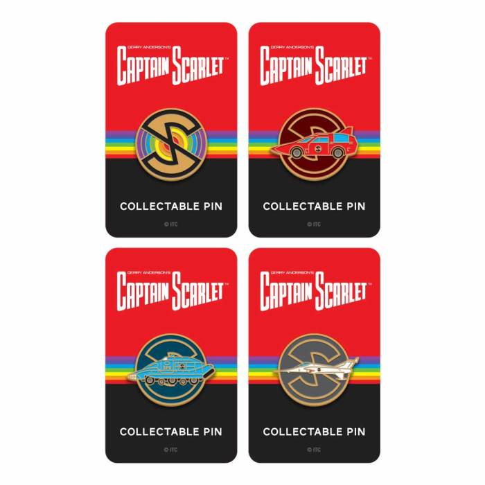"""Captain Scarlet and the Mysterons Enamel Pins by Florey - approximately 1"""" diameter"""