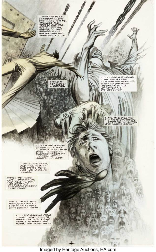 """David Lloyd The Horrorist #2 Original Art Story Page 44 (DC/Vertigo, 1996). Spin-off of Vertigo's popular Hellblazer series, The Horrorist stars John Constantine and Angel a """"Horrorist,"""" a person who redistributes pain by exposing people to the suffering of others. David Lloyd at his best for a haunting page of this elusive title never offered until now. Mixed media on Bristol paper with an image area of 11"""" x 17"""". The bubbles are affixed to a transparent acetate sheet. In Excellent Condition"""