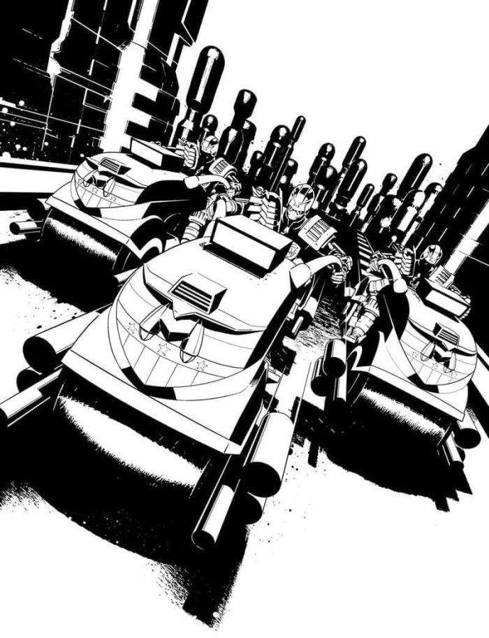 Line art by Paul Williams for the cover of Judge Dredd Megazine 422
