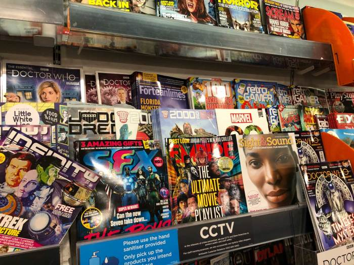 Teen-targeted comics and magazine rack in WHSmith Lancaster - August 2020