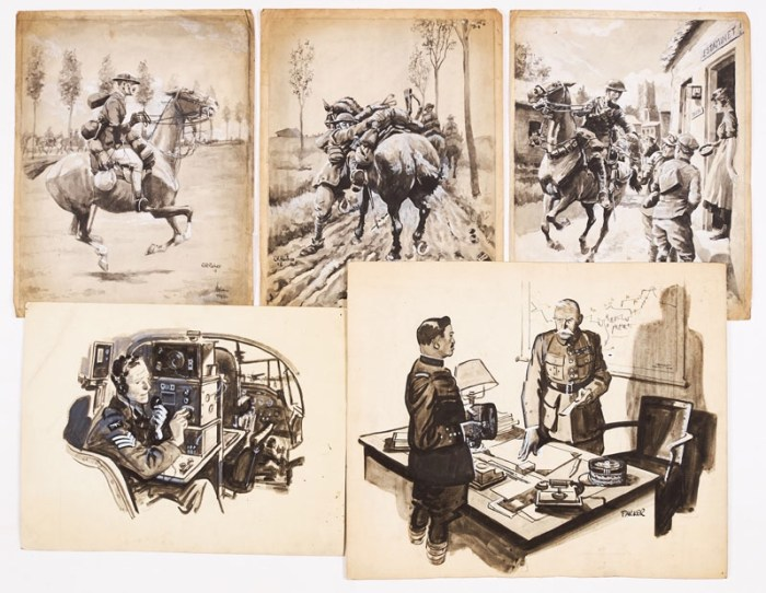 Five wartime sketches (1918-45) painted, four signed by Eric Parker. From the Eric Parker Archive Black ink and wash, highlighted with white. 11 x 9 ins, 14 x 12 ins