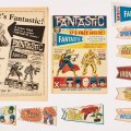 Fantastic No 1 (1967) wfg Fantastic Pennant Wallet and all 8 cut-out colour pennants: Amazing Spider-Man, Hulk, Iron Man, Nick Fury, Thing, Thor and X-Men. (Auctioneer's note: There were only three cut-out pennants with Fantastic No 1, the other 5 were collected from editions of Wham!, Smash!, and Pow!). With Eagle Flyer for Fantastic No 1