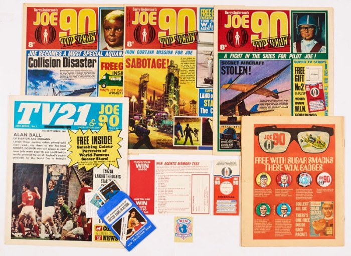 JOE 90 (1969) 1, 2 with free gift W.I.N. Coderpass (mint and unwritten), 3 with free gift W.I.N. Agent's Badge and a complete set of 6 W.I.N. Badges as given away with Kellogg's Sugar Smacks and advertised on the back page of Valiant 7 December 1968, all included here, with TV 21 & JOE 90 No 1 (1969) with free gift - three stamps of Soccer Stars in Action
