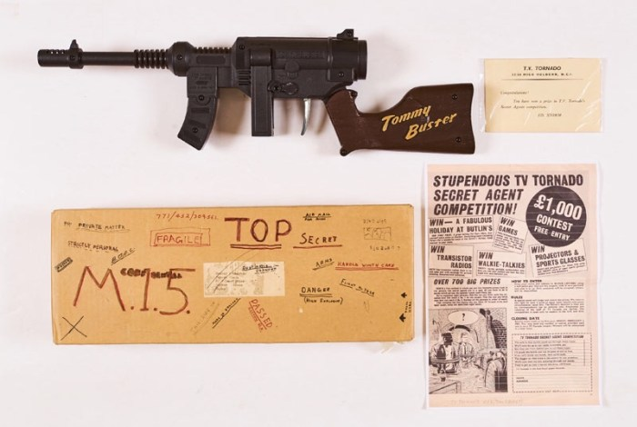 TV Tornado Tommy Buster Repeater Gun prize in Secret Agents Competition detailed in TV Tornado No 3 (1967). The gun also fires caps and is unused and in its original box with TV Tornado congratulations card and photocopy Competition Page. There were over 17,500 entries in the competition