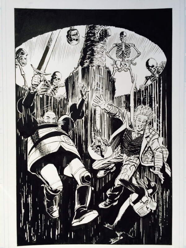 Original art for Doctor Who: The Age of Chaos by Barrie Mitchell. This was one of the splash pages, reflecting the original planned mini series format of the project. Via ComicArtFans
