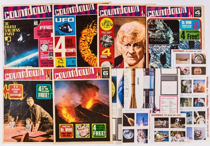 Countdown (1971) 1-6 with all free gifts from each issue comprising The Giant Spacefact Wallchart and 24 stamps uncut and as new