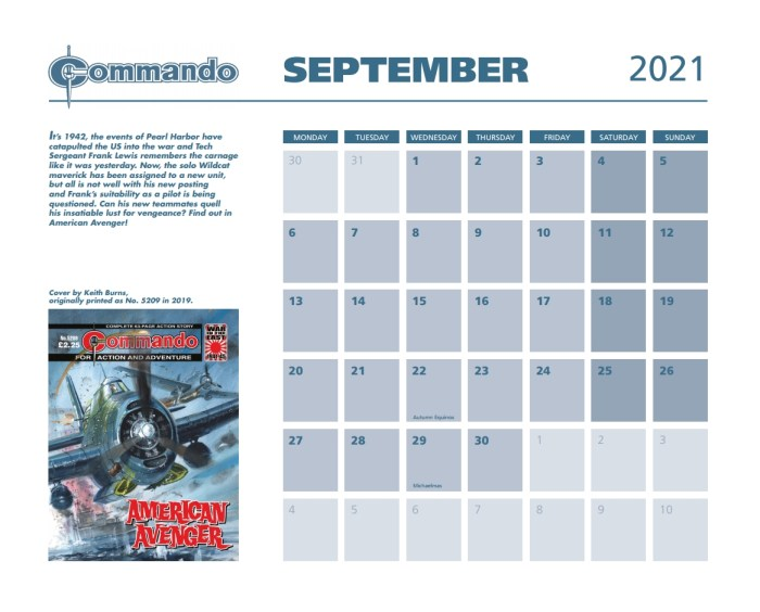 Commando Calendar 2021 - September