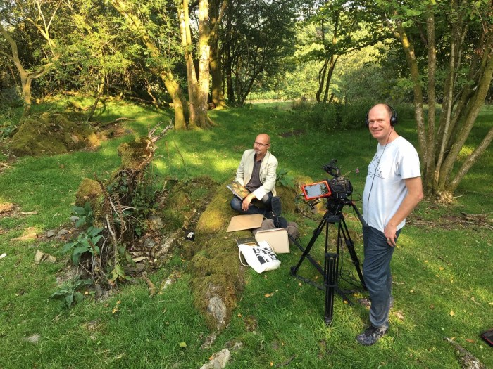 """Festival patron and comics retailer Stephen L. Holland in the Lakes for recording of """"Comics, Clouds and Kendal Mint Cake"""""""