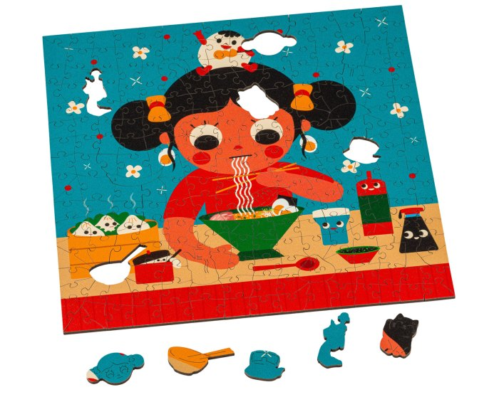 """""""Guksu"""" is named after the Korean word for Noodle soup, and you can see how wonderfully artist Uijung Kim has captured this homely comfort food. Kim's iconic style really expresses her strong roots in Korean Culture. Image: Wentworth Wooden Puzzles"""