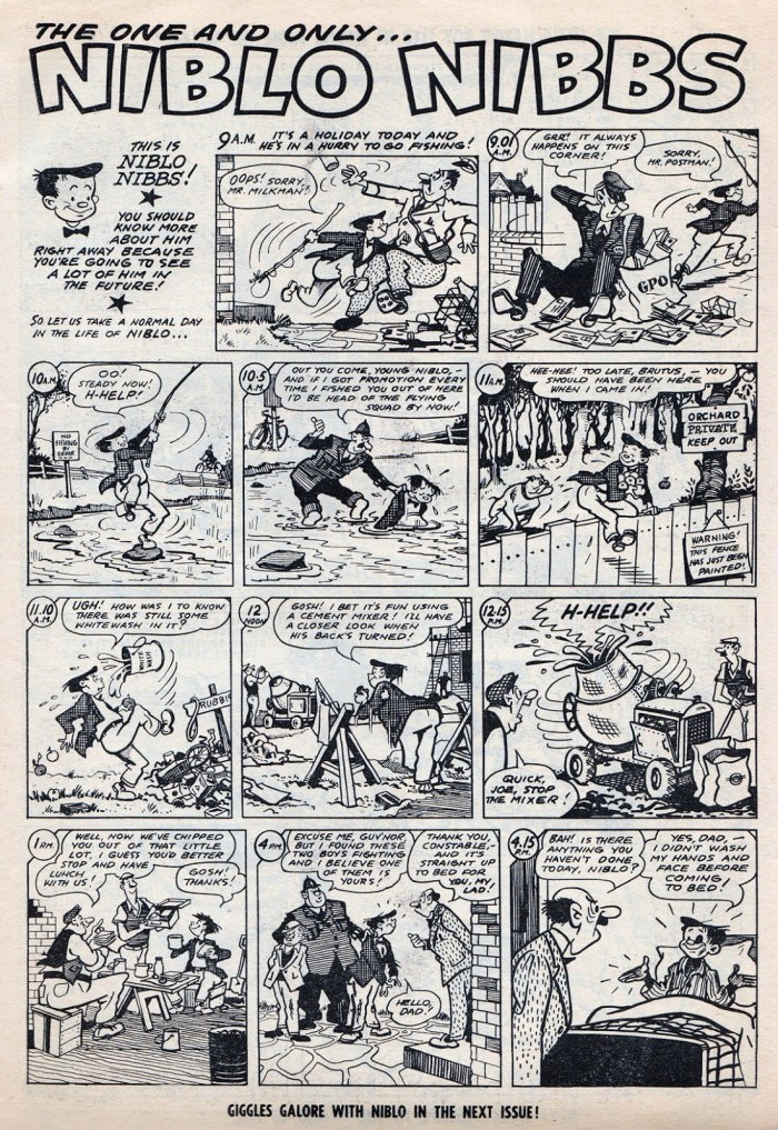 """""""Niblo Nibbs"""", first published in Film Fun, was reprinted in Giggle, published by Fleetway Publications Ltd. Here's the strip drawn by Eric Roberts from  first issue, cover dated 29th April 1967. The strip later featured in Cor!!, re-titled """"Nippy Nibs"""". Image with thanks to Lew Stringer - read his feature on Giggle here. © Rebellion Publishing Ltd."""