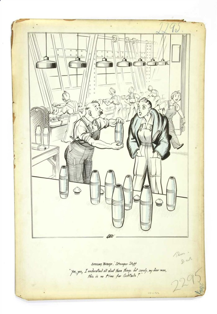 """A clash of classes in the wartime factory for one of Joseph Lee's """" Smiling Through"""" cartoons"""