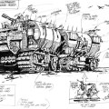 Robin Smith's design for the Helltrekkers Rad Wagons for the abandoned 1984 Judge Dredd spin-off comic