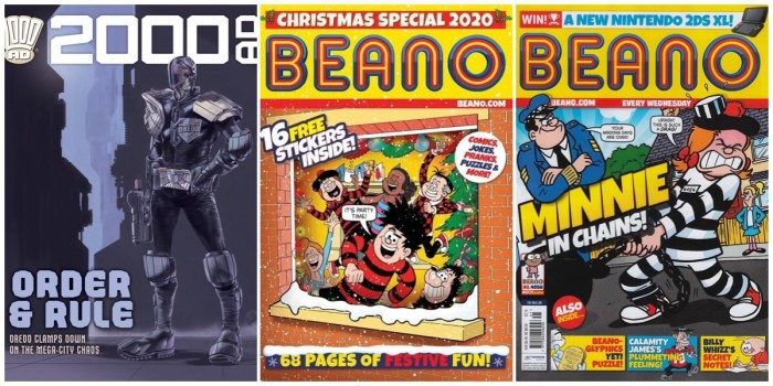 Still on sale today in newsagents: 2000AD Prog 2203, BEANO 4056 and BEANO Christmas Special (BEANO cover with thanks to Lew Stringer)