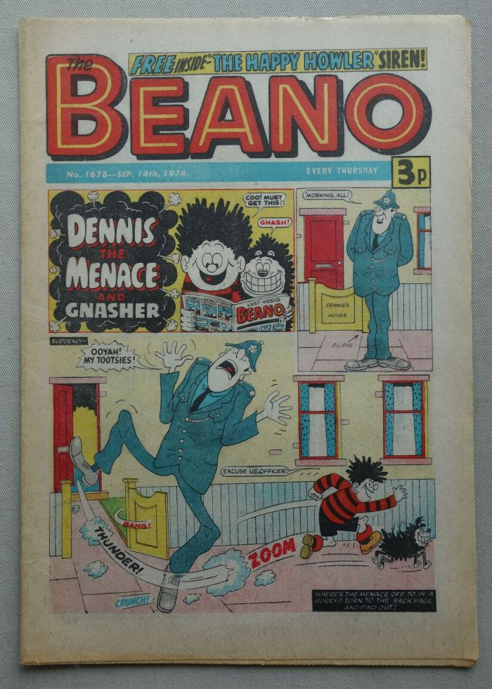 """Beano 1678 cover dated 1th September 1974 – First """"Dennis the Menace"""" Cover"""