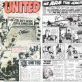 "The opening spread of ""We Are United"" from Champ No. 1, launched in February 1984. Peter recalls DC Thomson were impressed with his test pages and It ended up being the longest run of any of the strips he worked on, but it's not a strip he remembers fondly. ""It meant I soon ran out of new ways of presenting football action,"" he recalled. ""I fought to prevent boredom but not always with any great success because I was only repeating myself."" ""The very first opening was about the whole team and the support people. I therefore had to invent a huge number of characters. Unbeknownst to me, the second script was about the sacking of about a third of the team and the building up of a new group. A large number of the new team had to be re-invented. I felt my first effort had gone to waste. Had I known that was going to happen I'd have not tried to be so creative."""