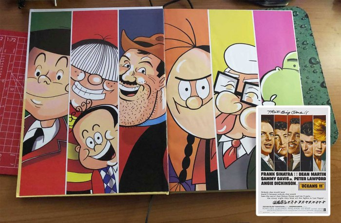 The Dandy Annual 2021 endpapers - inspired, perhaps, by the film poster for Ocean's 11?