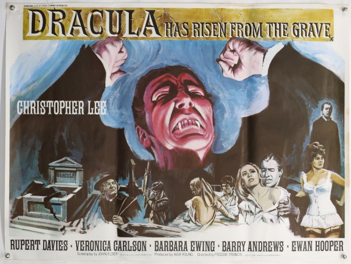Dracula Has Risen From The Grave (1968) British Quad film poster, artwork by Tom Chantrell, Hammer Film Production starring Christopher Lee, rolled, 30 x 40 inches