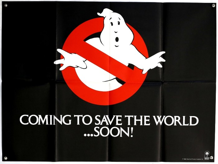Advance Ghostbusters British Quad film poster for the first release, folded, 30 x 40 inches