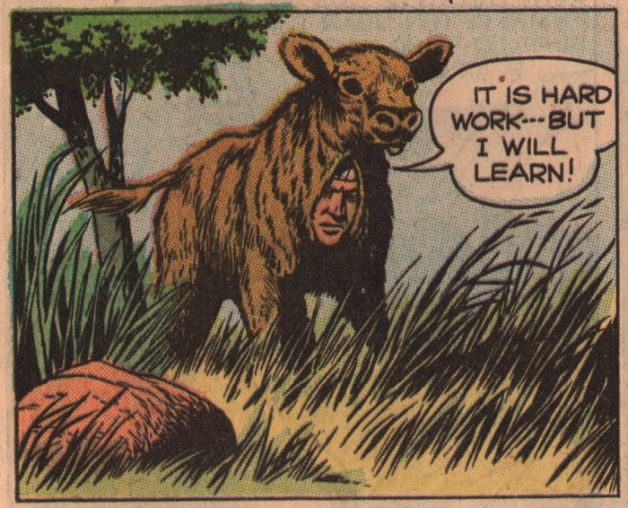 This bizarre panel appeared in Hi-Yo Silver #22, published in the US by Dell in 1957. Script by Gaylord DuBois, art by Tom Gill