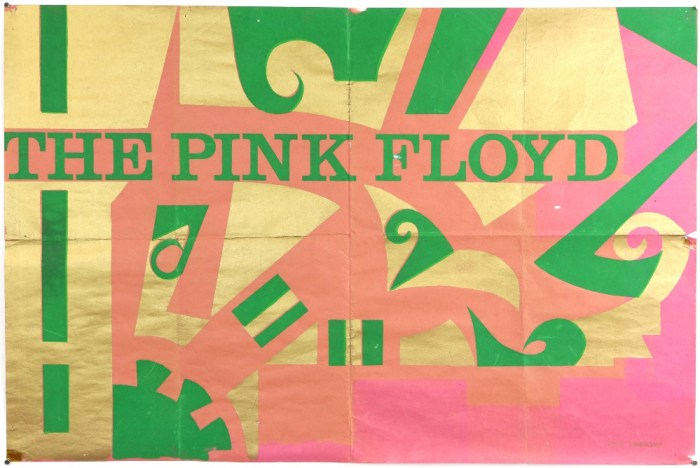 The Pink Floyd - Original Early concert poster used at their gig at Saville Theatre on 5th March 1967, IBIS Designs, flat, 20 x 30 inches. The vendor got this poster in person at The Saville Theatre concert on the 5th March 1967, the vendor was a member of Lee Dorsey's backing group 'The Scots of St James and Pink Floyd were the support group. Syd Barrett was then a member of pink Floyd.