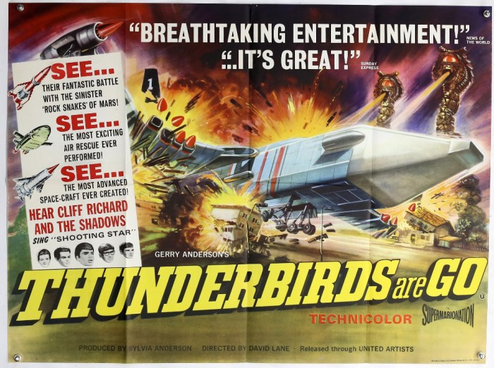 Thunderbirds Are Go (1966) British Quad film poster, created by Gerry Anderson, United Artists, folded, 30 x 40 inches