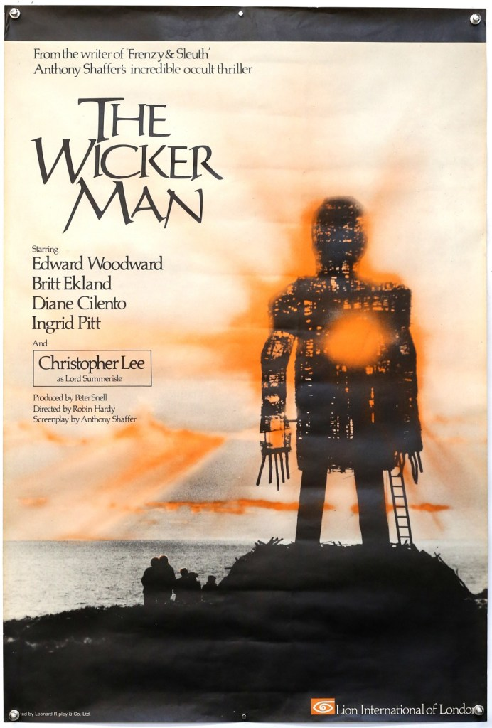 The Wicker Man (1974) English One Sheet film poster, Cult movie directed by Robin Hardy & starring Christopher Lee, Lion International, rolled, 27 x 40 inches. In very good condition