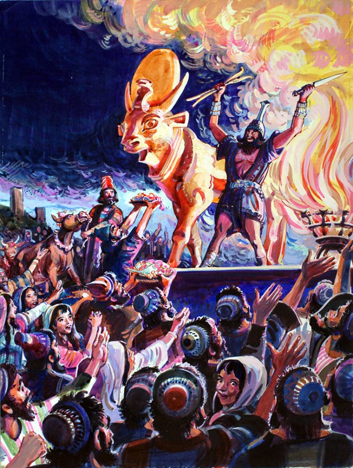 """Worshipping False Gods"", an illustration for The Bible Story (Issue 14) by Robert Forrest"