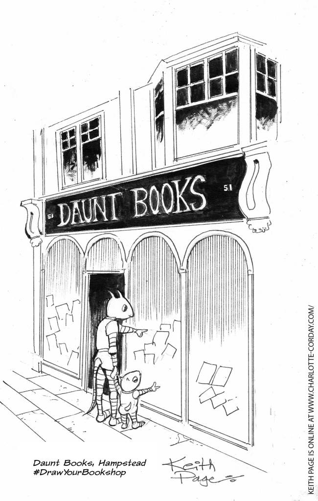 Daunt Books, Hampstead #DrawYourBookshop art by Charlotte Corday and Dan Dare artist Keith Page