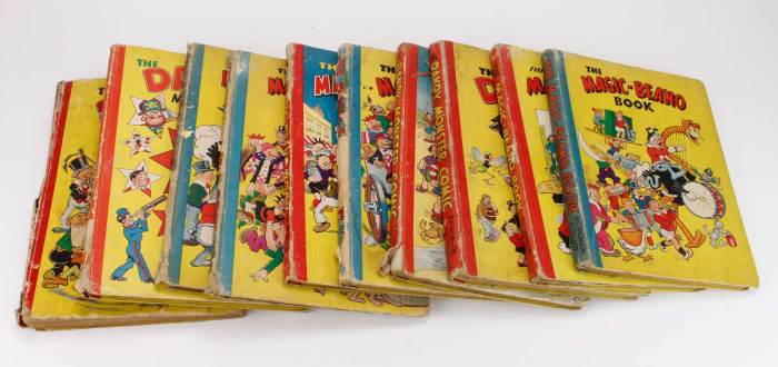 Ten early Beano and Dandy Annuals, comprising The Beano Book 1942, The Magic Beano Book 1945 to 1950; Dandy Monster Comic 1946, 1947 & 1950, all original boards, some with loss to spines, usual overall wear with the occasional juvenile scribble etc