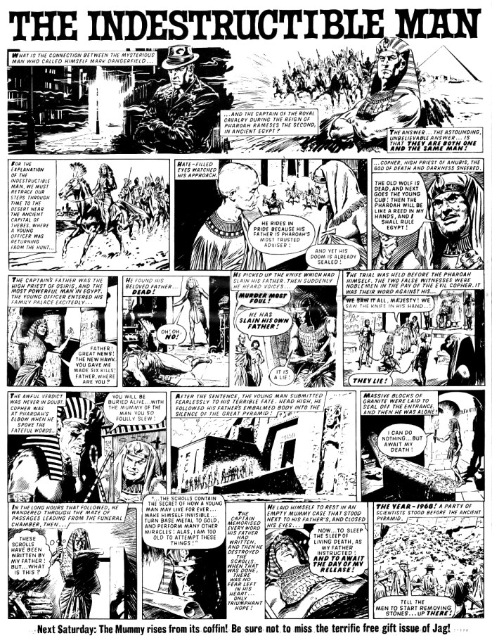 """The opening episode of """"The Indestructible Man"""" from JAG Issue One, published in 1968. Art by Jesus Blasco"""