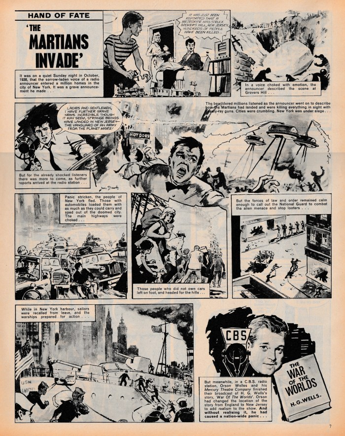 """The Martians Invade"", from Boys'World, Volume 1 No.31, cover dated 24th August 1963. Art by Jon Davis.With thanks to David Slinn"